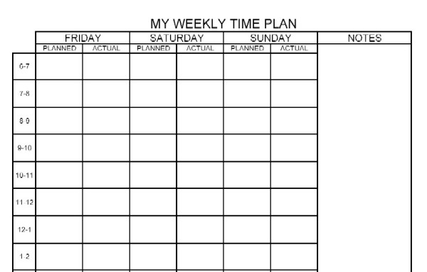 Schedule Planners – Academic Support Center