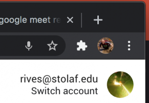 A Google account signed in as rives-at-stolaf-dot-edu.