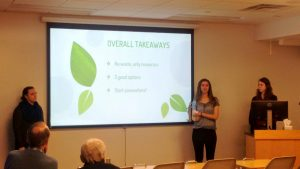 Students stand in front of powerpoint presentation discussing overall takeaways from Green Germany course.