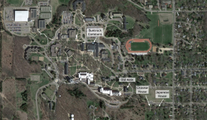 Ariel view of St. Olaf campus.
