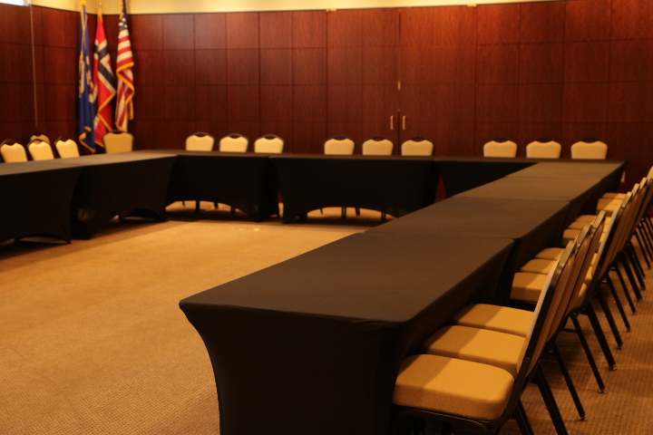 Another view of the Johnson Board room. Built-in projector and screen.