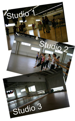 Collage of photos featuring campus dance studios.
