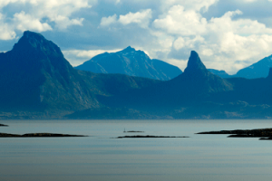 Scenic water and mountains