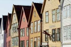 row of colorful houses in Norway