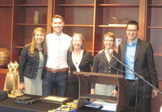 New PBK Members: Sarah Anderson, Erik Springer, Audrey Kidwell, and Alex Everhart with Professor Rebecca Judge