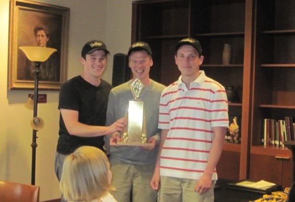 2015 Campus Golf Champs: Chris Flicek, Evan Lebo, and Elliot Knuths