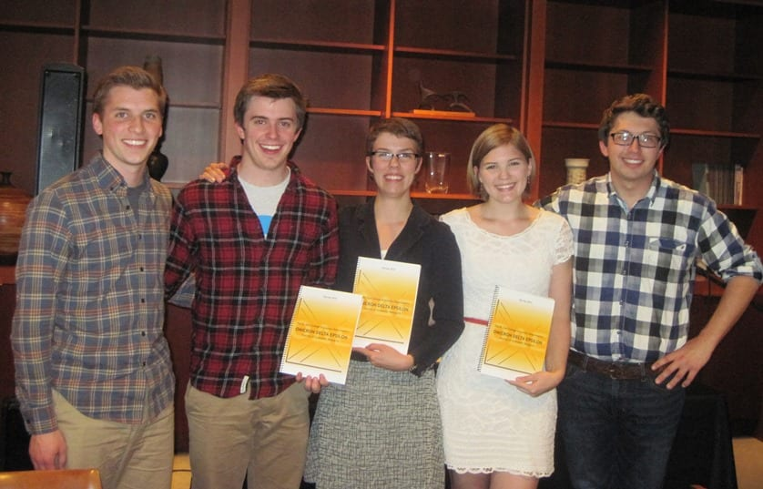 Economics Journal Editors and Winners: Joe Briesmeister, John Bruer, Audrey Kidwell, Heather Wolf, and Will Lutterman