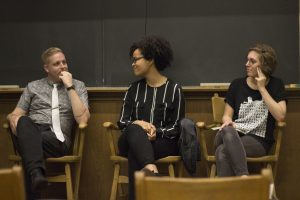 Alumni Clair Dunlap '15, Timothy Otte '10, and Sagirah Shahid '11.