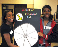 ETS students spin the Wheel of Financial Aid at College Club.