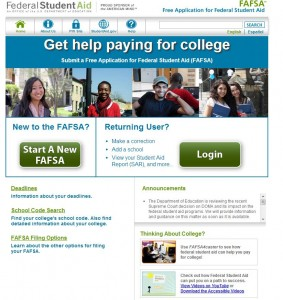 FAFSA home page