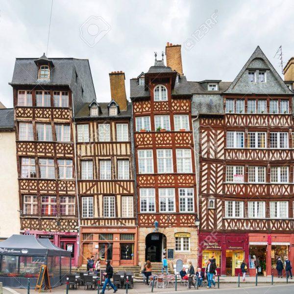 RENNES, FRANCE - April 28, 2018: Restaurants in Old Town Rennes, France