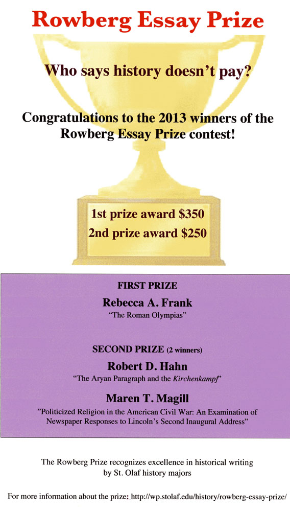 herskovic essay prize Did you know that you can win prizes with your writing essay contests are a fun way to turn your creativity and your command of the written word into great prizes if you'd like to up your game and increase your odds of having your entry chosen as the winner, follow these ten steps for winning essay contests.