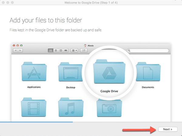 google drive folder on desktop