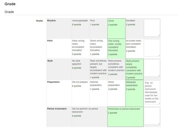 Rubrics information technology screenshot of online rubric with selected score boxes highlight in green and feedback entered into text ccuart Choice Image