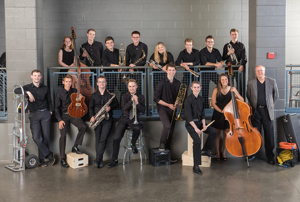 The St. Olaf Jazz Band poses for a group photo.