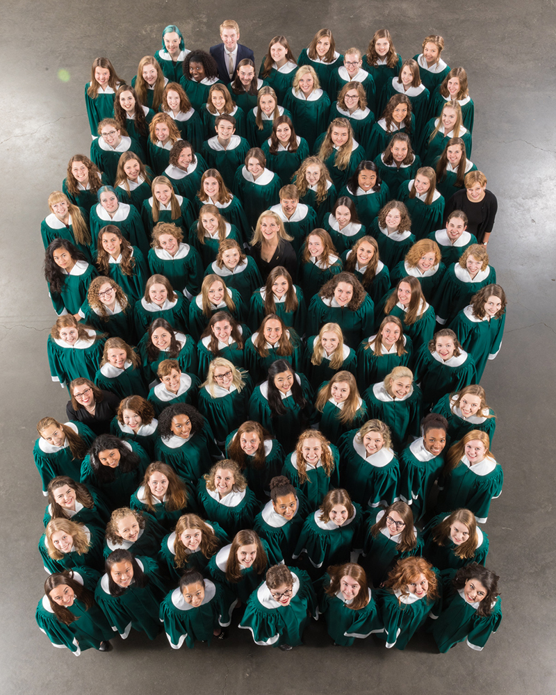 The Manitou Singers pose for a group photo in concert robes.