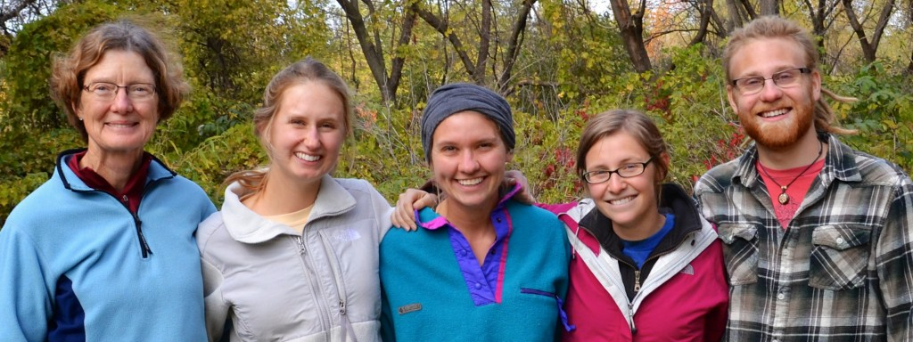Kathleen Shea with student naturalists Emma Cornwell, Roz Anderson, Kirsten Maier, and Andrew Kaul.