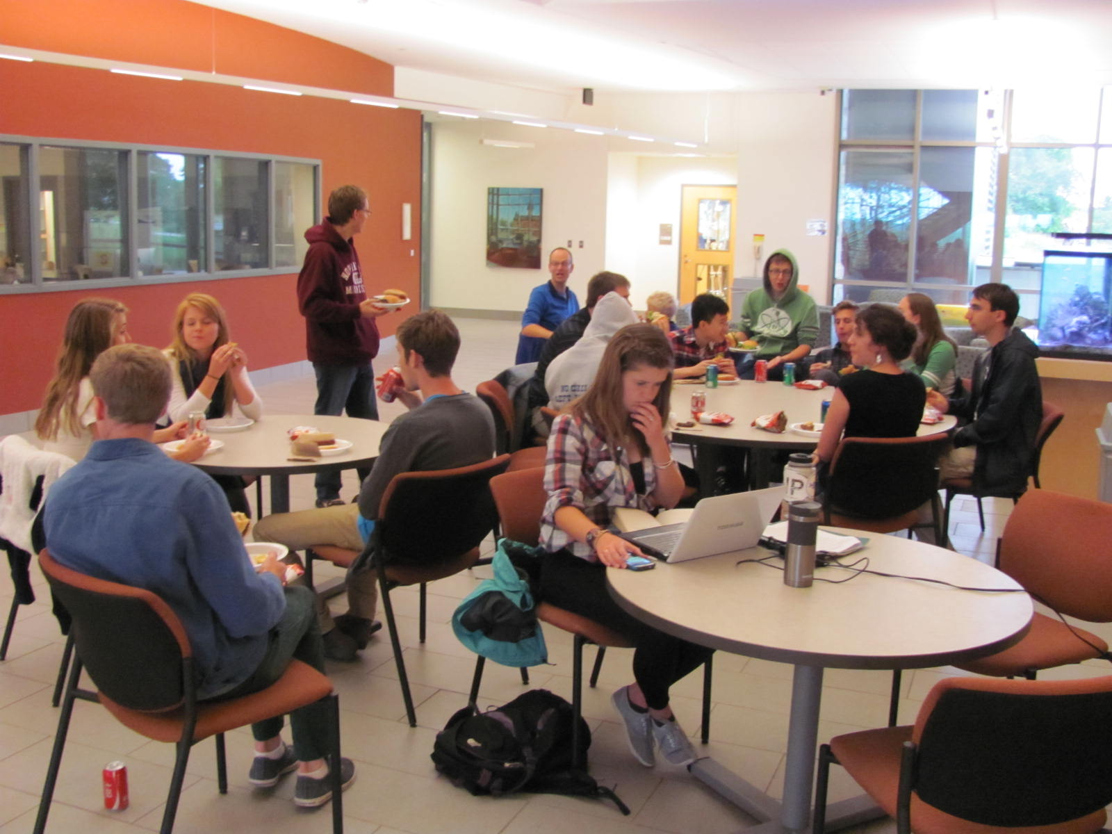 A cool fall day brings the picnic indoors to the comfort of the science building