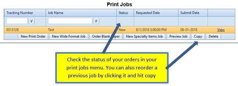 Print Jobs Status Screen