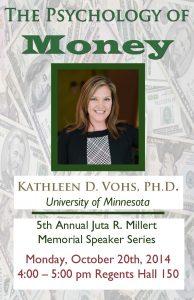 Millert Memorial Speaker Poster: The Psychology of Money