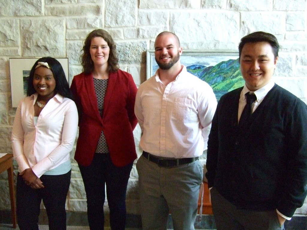 2015 Senior Projects Presenters (L to R): Victoria Green, Kelsey Peterson, Kyle Foster, Tosaka Thao