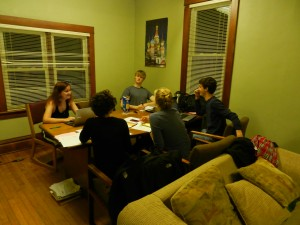 Students studying at the Russian House.