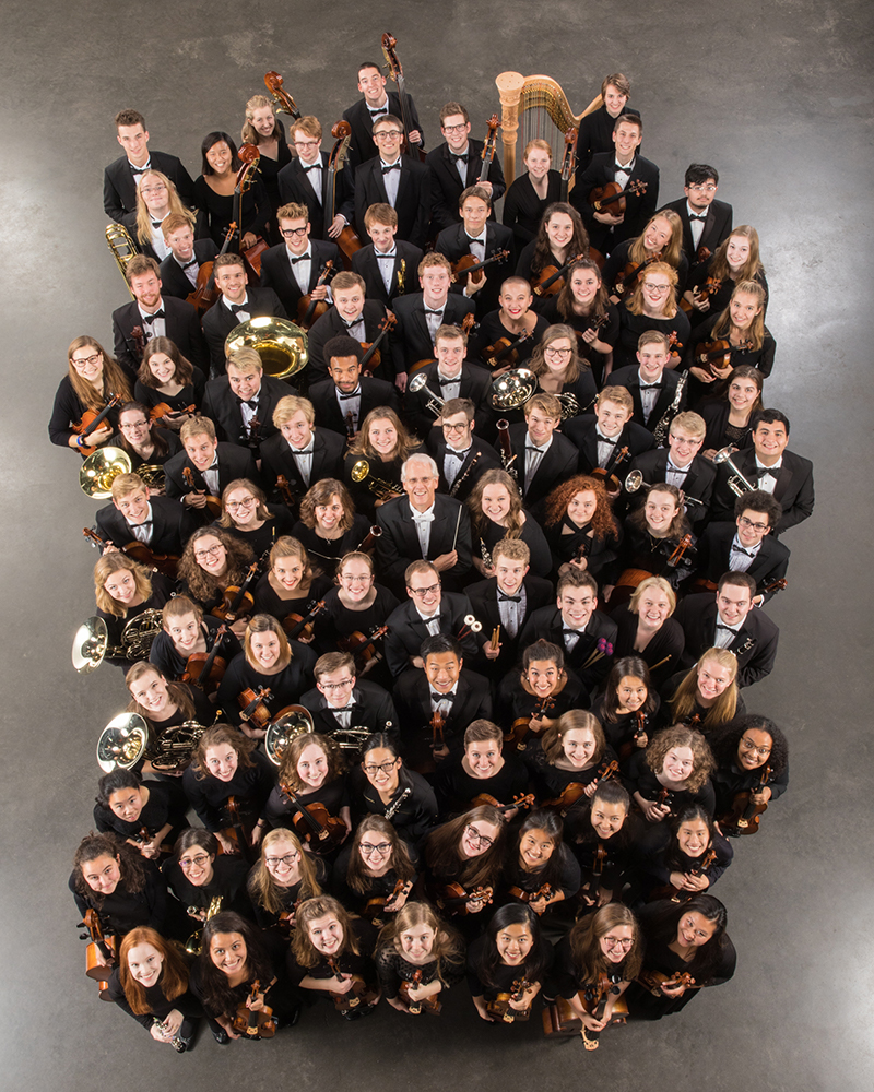 The St. Olaf orchestra poses for a group photo.