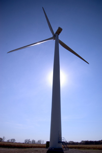 St. Olaf College's wind turbine is connected directly to the college's energy grid.