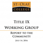 an image of the first page of the Title IX Working Group Report to the Community
