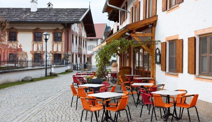 Restaurant tables in Oberammergau, Germany