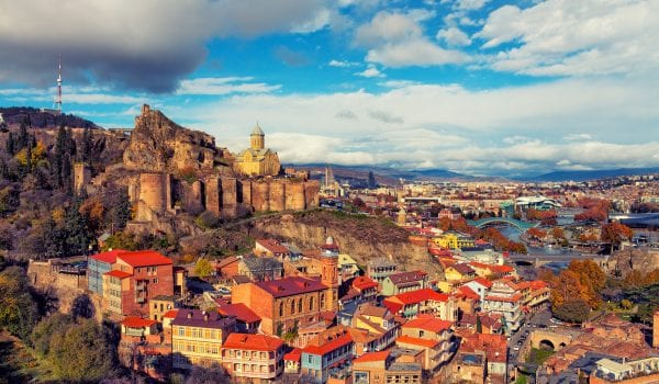 Beautiful panoramic view of Tbilisi at sunset