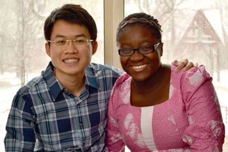 Love Odetola '14 (right) will use a $10,000 Davis Projects for Peace grant to develop a public health initiative in Senegal, while Duy Ha '14 will use it to create an interactive educational experience about environmental issues in Vietnam.