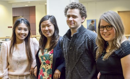 St. Olaf seniors (from left) Kia Vang, Sophia Kor, David Galick, and Sonja Smerud have been named Fulbright fellows for 2014–15. Melanie Brooks '11 (not pictured) was also accepted into the prestigious program.