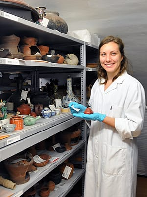 Part of her internship at the Weltmuseum Wein took St. Olaf College student Kirsten Schowalter '15 into the storage areas of the museum's collections, where she helped develop the digital object inventory in the museum database.