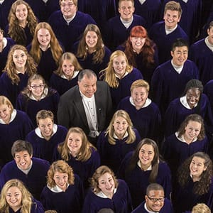 An aerial view of the St. Olaf Choir, with conductor Anton Armstrong