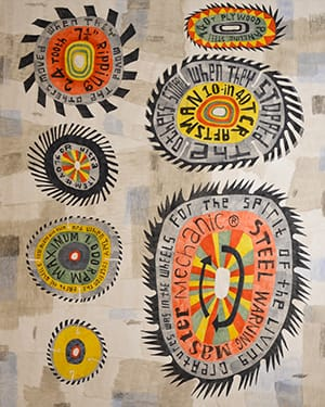 "Wheel Within a Wheel, 2016. Acrylic on canvas, 60"" x 48"""
