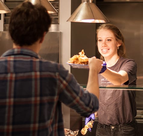 Stav Hall serves more than 70 entrees each week, along with a wide selection of desserts each day.